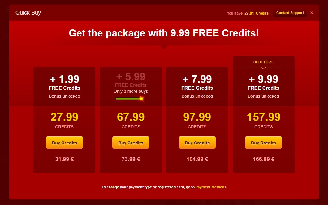 Credit Packages and Discounts on LiveJasmin