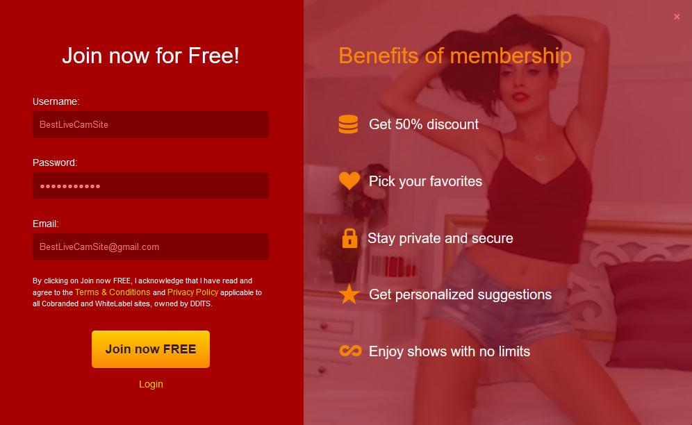 Livejasmin - Signup Page & Benefits of Membership
