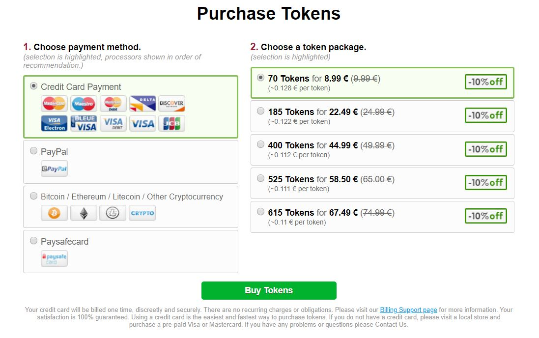 Bongacams.com Token packages