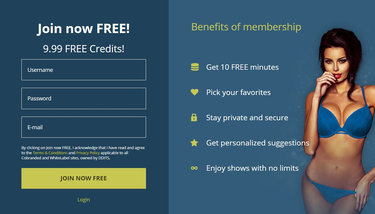 LivePrivates Registration Page